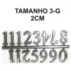 Cartela com 04 Jogos de números Arábicos 3-G (20mm) - Prata
