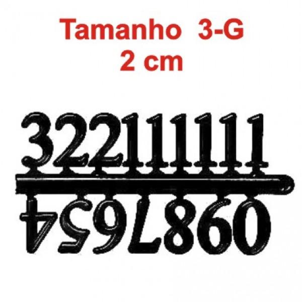 Cartela com 04 Jogos de números Arábicos 3-G (20mm) - Pretos