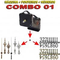 COMBO 01 - 20 Jogos de Máquinas de relógio eixo 17 c/ alça + Jg Pont Luiz Xv G + Nº Arábicos G