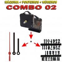 COMBO 02 - 20 Jogos de Máquinas de relógio eixo 17 c/ alça + Jg Pont Palitos G Pretos + Nº Arábicos ou Romanos Pretos