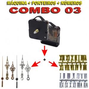 COMBO 03 - 20 Jogos de Máquinas de relógio eixo 17 c/ alça + Jg Pont Luiz Xv G + Nº Romanos