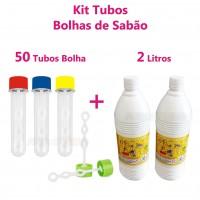 Kit 50 Tubos tubetes Bolha de sabão + 2 Litros de liquido para bolhas