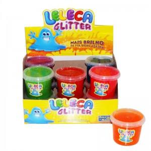 12 unidades de Leleca Gliter diversão em Gel - Slime Gel - Caixa Blister