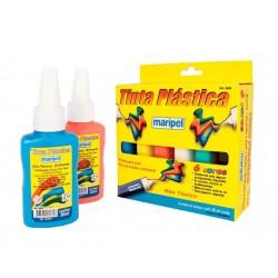 06 Frascos de Tinta Plástica em 06 cores diferentes c/ 30 ml cada