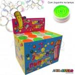 Caixa com 12 Tubos Bolhas de Sabão Super Bubble, tampas com Joguinho - Só R$1,63 cada tubo