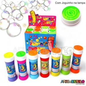 Caixa com 12 Tubos Bolhas de Sabão Super Bubble, tampas com Joguinho - Só R$1,86 cada tubo