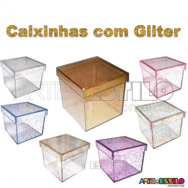 10 Caixinhas de Acrílico com Gliter 5x5