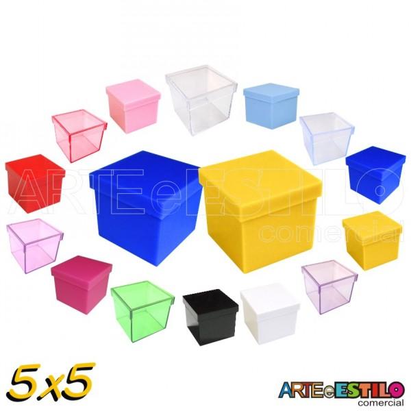 100 Caixinhas de Acrílico 5x5 para lembrancinhas - Cores Diversas