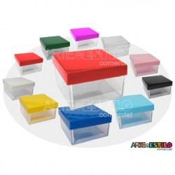 10 Caixinhas de Acrílico c/ Tampa Colorida 5x5x3 cm  - Só R$0,59 cada