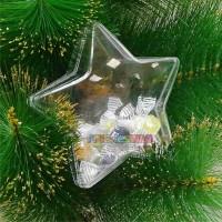 10 Estrelas Acrilicas Bipartidas com glitter 9 Cm