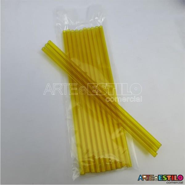 Emb c/ 10 Canudos de Acrílico Amarelo cristal - 20 cm