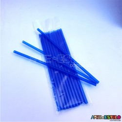 Emb c/ 10 Canudos de Acrílico Azul cristal - 20 cm