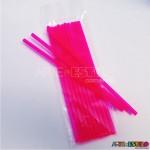 Emb c/ 10 Canudos de Acrílico Rosa cristal - 20 cm