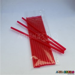 Emb c/ 10 Canudos de Acrílico Vermelho cristal - 20 cm