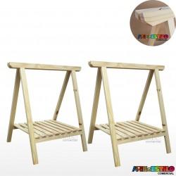 02 Cavaletes Studio de Madeira para mesa com Prateleira para bancada, aparador, mesa - 80 X 100cm - Só R$44,90 cada
