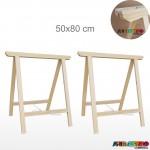 02 Cavaletes Studio de Madeira para mesa, bancada, aparador - 50 x 80 cm - Só R$24,70 cada