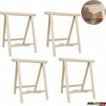 04 Cavaletes Studio de Madeira para mesa, bancada, aparador - 75 x 80 cm