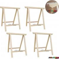 04 Cavaletes Studio de Madeira para mesa, bancada, aparador - 75 x 80 cm - Só R$24,95 cada