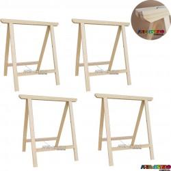 04 Cavaletes Studio de Madeira para mesa, bancada, aparador - 75 x 80 cm - Só R$24,70 cada