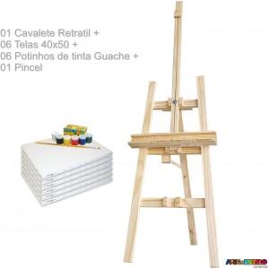 Kit de Pintura com Cavalete Retratil p/ transporte 180X50 + 06 Telas 40x50 + 06 Potes de tinta guache + 01 Pincel