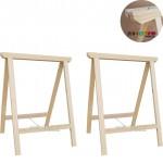 02 Cavaletes Studio de Madeira para mesa, bancada, aparador - 50 x 80 cm