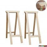 02 Cavaletes Studio de Madeira para mesa, bancada, aparador - 35 x 80 cm - Só R$24,70 cada