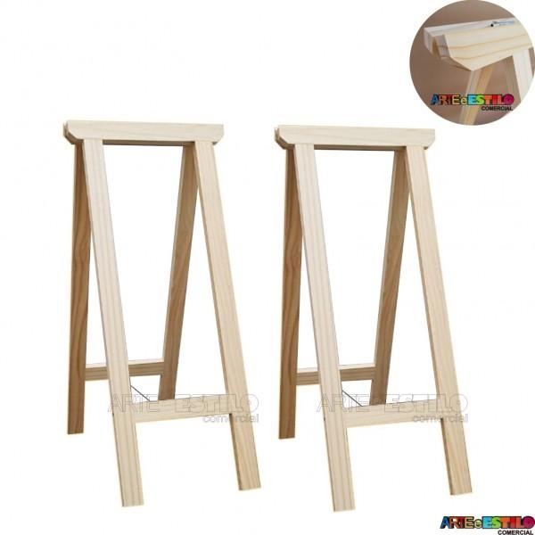 02 Cavaletes Studio de Madeira para mesa, bancada, aparador - 35 x 80 cm