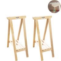 02 Cavaletes de Madeira com Prateleira, ideal para mesas, bancadas - 35x80 cm