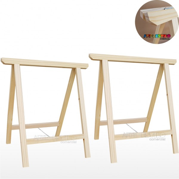 02 Cavaletes Studio de Madeira para mesa, bancada, aparador - 75 x 80 cm - Só R$24,95 cada