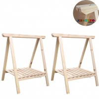 02 Cavaletes Studio de Madeira para mesa com Prateleira para bancada, aparador, mesa - 80 X 100cm