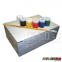 Kit de Pintura Infantil c/ 06 Telas comuns + 06 Tintas Guache + 01 Pincel