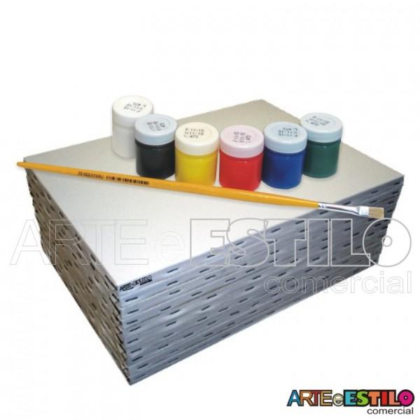 Kit de Pintura Infantil c/ 06Telas + 06 Cores de tintas + 01 Pincel