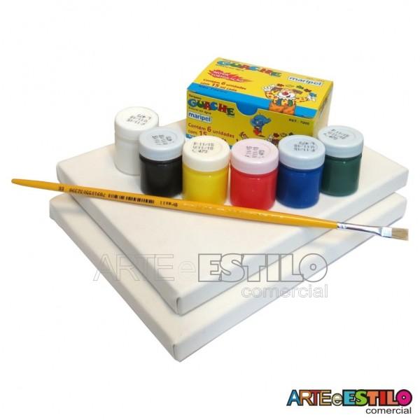 Kit de Pintura Infantil c/ 02Telas + 06 Cores de tintas + 01 Pincel