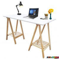 Mesa de cavaletes com Prateleiras home office, escrivaninha, mesa para festas