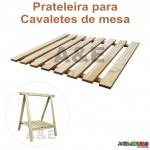 04 Cavaletes de Madeira para mesa de festa, bancada, aparador -75x50cm com prateleira e 75x80 cm
