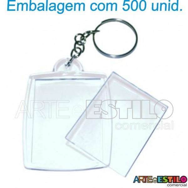 500 Chaveiros em Acrilico para Foto 3x4 Transparente - Só R$0,48 cada
