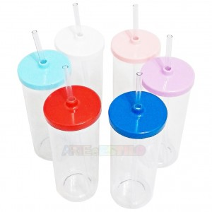 10 Copos Long Drink transparentes com Tampa e Canudo 350ml
