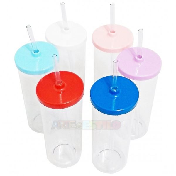 10 Copos Long Drink transparentes com Tampa e Canudo 300ml