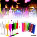 10 Taças com Canudos de Acrílico Cristal em diversas cores Só R$1,99 cada