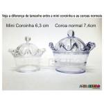 12 Mini Coroas de Acrilico Brancas - Só R$0,69 cada