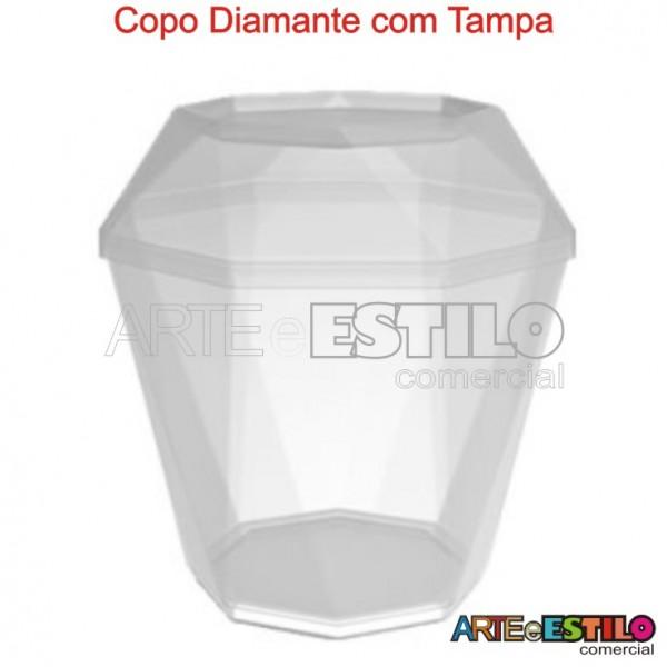 10 Copos Diamante com Tampa - Em Acrílico - Capacidade 180 ml