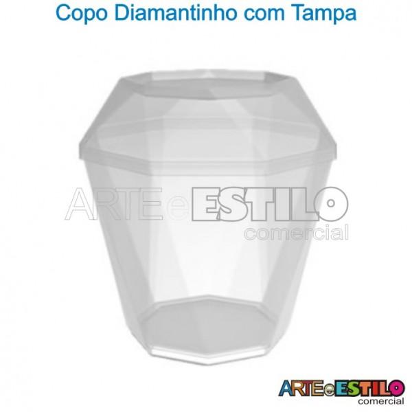 10 Copos Diamantinho com Tampa - Em Acrílico - Capacidade 150 ml