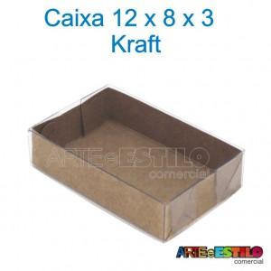 50 Caixas Kraft e Acetato 12X8X3 cm