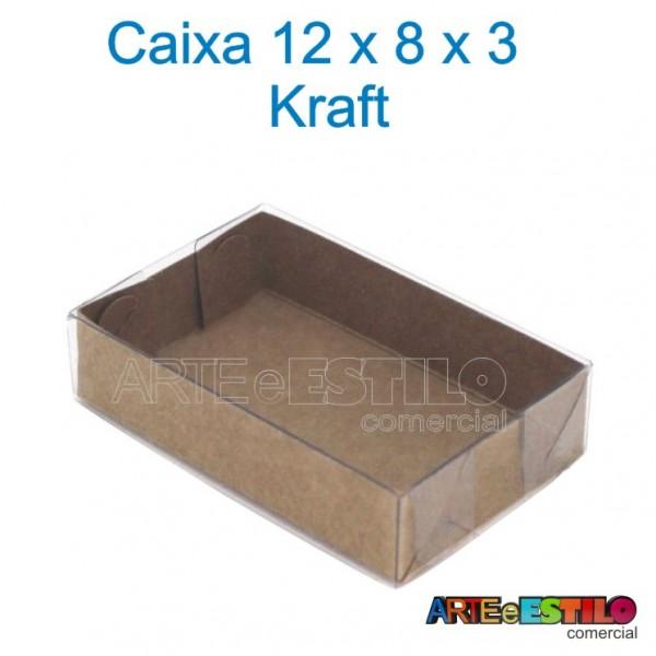 50 Caixas Kraft e Acetato 12 X 08 X 03 cm