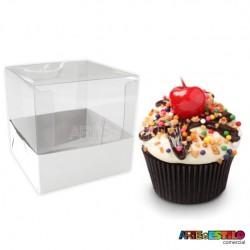 25 Caixas de Acetato e papelão para cupcake 7,5 x 7,5 x 7,5 cm
