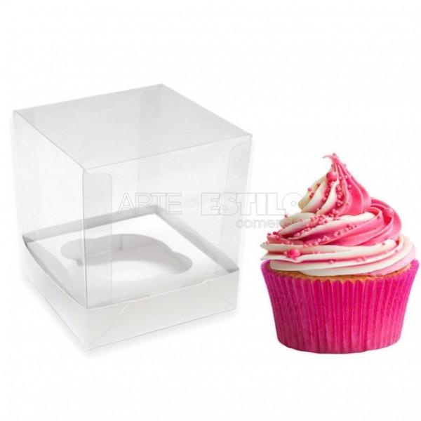 25 Caixas de Acetato e papelão para cupcake com Berço para encaixar o produto medidas 7,5x7,5x7,5 cm