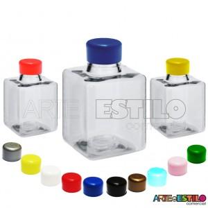 10 Frascos modelo Quadrado para personalizar c/ tampa plástica