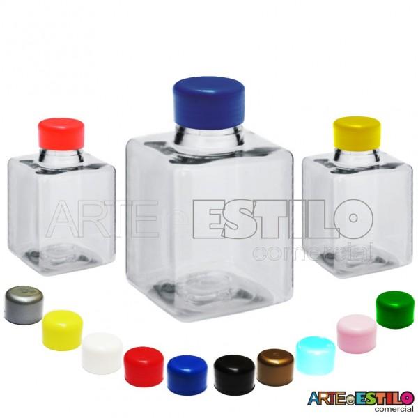 10 Frascos modelo Quadrado c/ tampa plástica 250 ml para personalizar