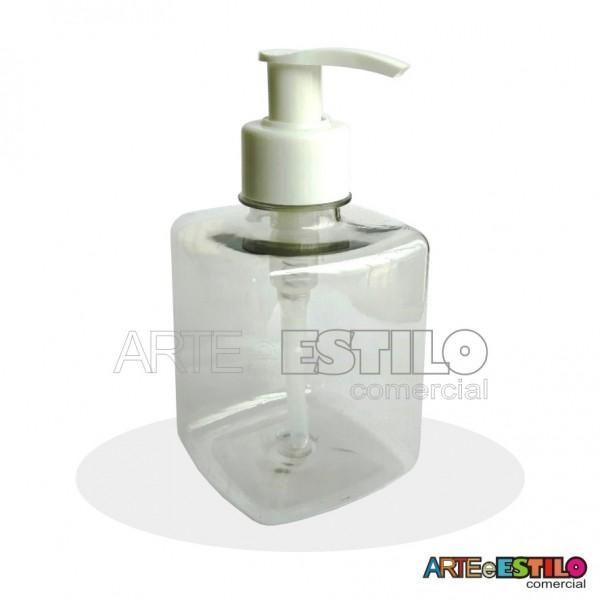 10 Frascos Quadrados Saboneteiras 250ml com Válvula Pump Branca