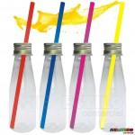 Emb c/ 10 Garrafinhas com Canudos de Acrílico Cristal em diversas cores Só R$1,59 cada